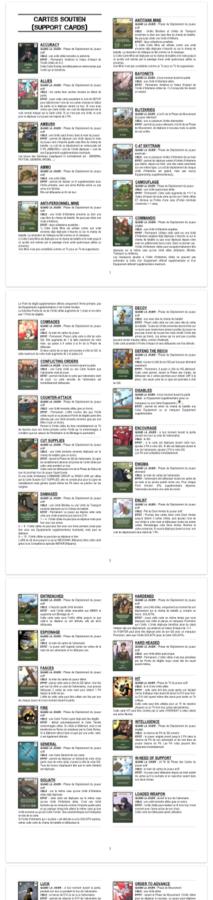 2GM TACTICS : Livret des Cartes Soutien en français