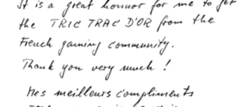 Wolfgang Kramer remercie la French Gaming Community